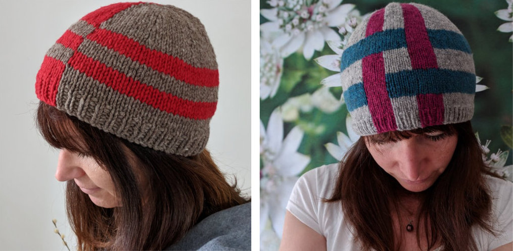 Two hats made using the intarsia technique