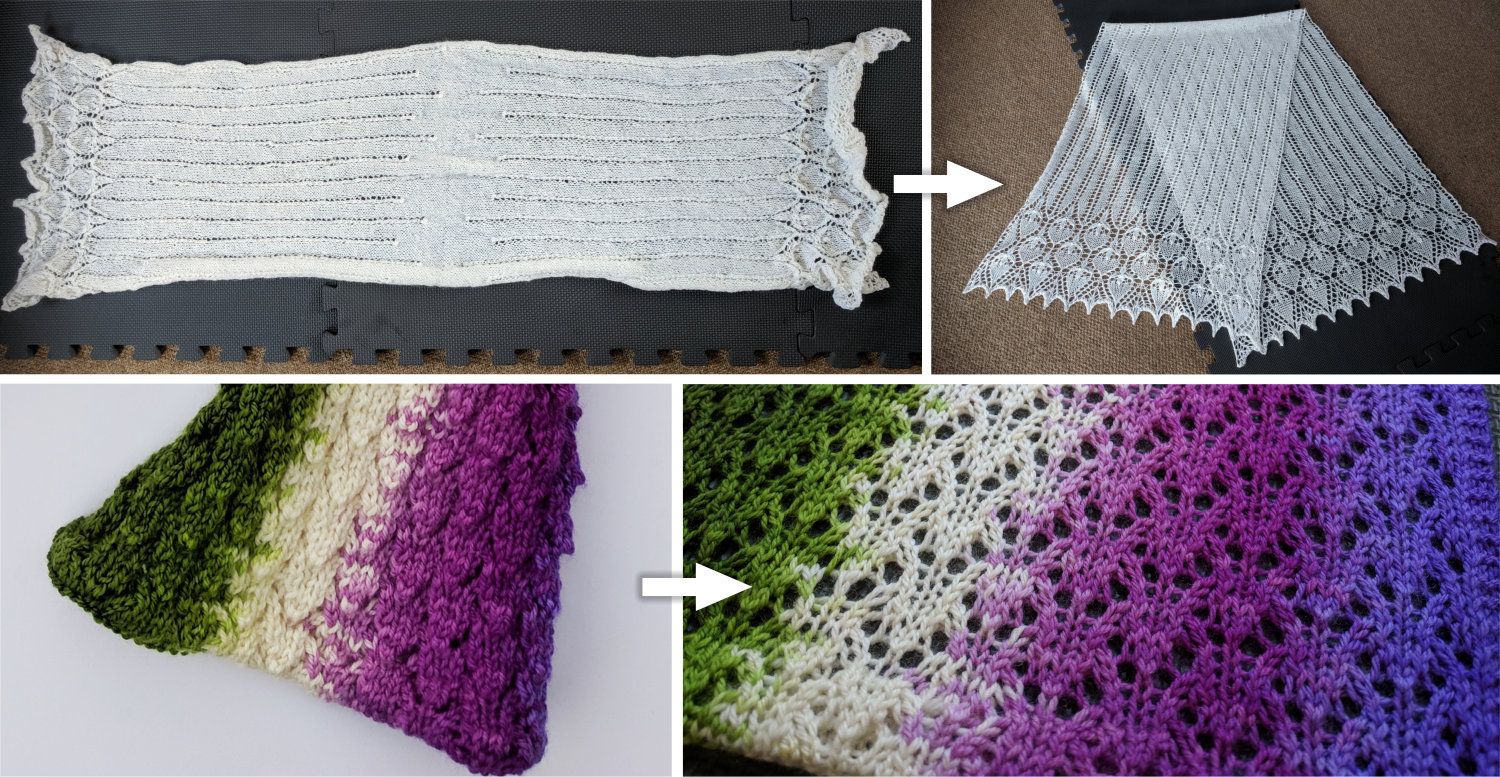 A white shawl and a multicolored scarf before and after blocking and showing how much more clearly the lace pattern can be seen after blocking