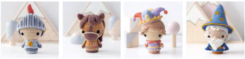 Amigurumi knight, horse, joker and wizard figures from the Mini Kingdom book