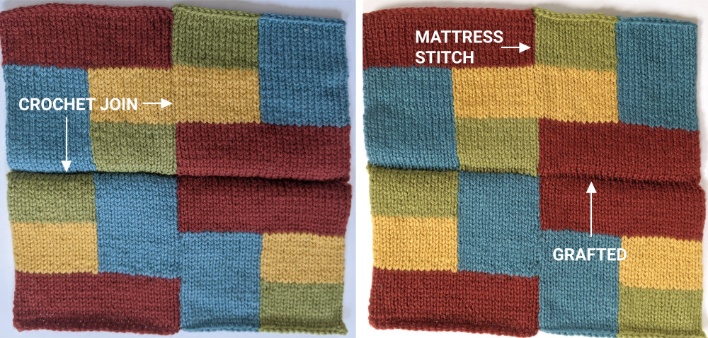 knitted squares joined with the crochet join and mattress stitch
