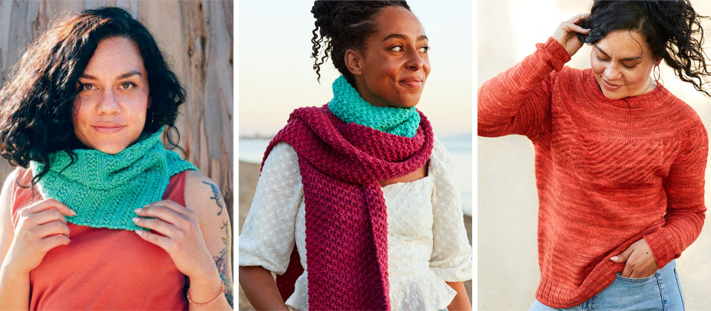 Everyday Cowl, Scarf-Cowl Duet and Debut Pullover from MDK Field Guide 18: Beginnings