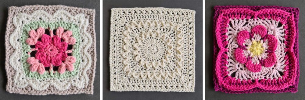 Three crochet squares from Granny Square Patchwork
