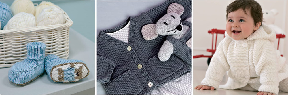 Booties, a baby in a white jacket and a baby cardigan and mouse toy
