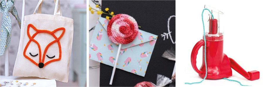 White bag decorated with a fox face, a lollipop shaped magnet (both made using knitted cord), and a knitting mill